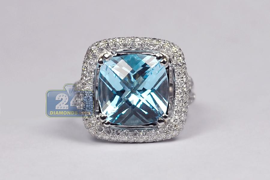 Ladies Blue Topaz Diamond Cocktail Ring 14K White Gold 10