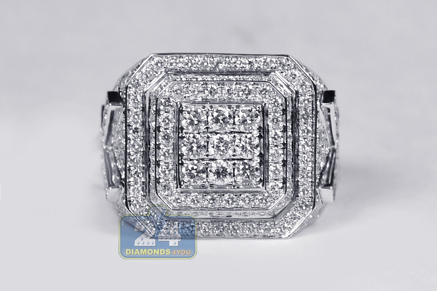 Mens Iced Out Diamond Large Square Ring 14K White Gold 418 Ct