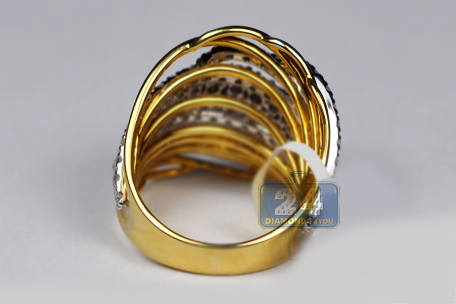 Womens Diamond Twist Band Ring 18k Two Tone Gold 1 70 Ct