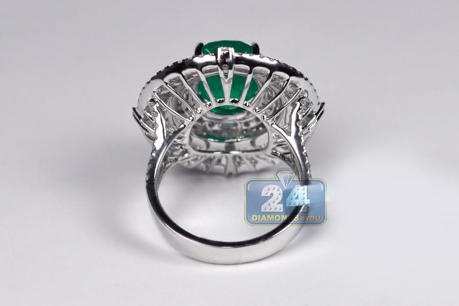 Womens Emerald Diamond Oval Shape Ring 18K White Gold 1157 Ct