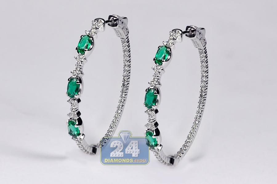 Womens Emerald Diamond Oval Hoop Earrings 18k Gold 2 27 Ct
