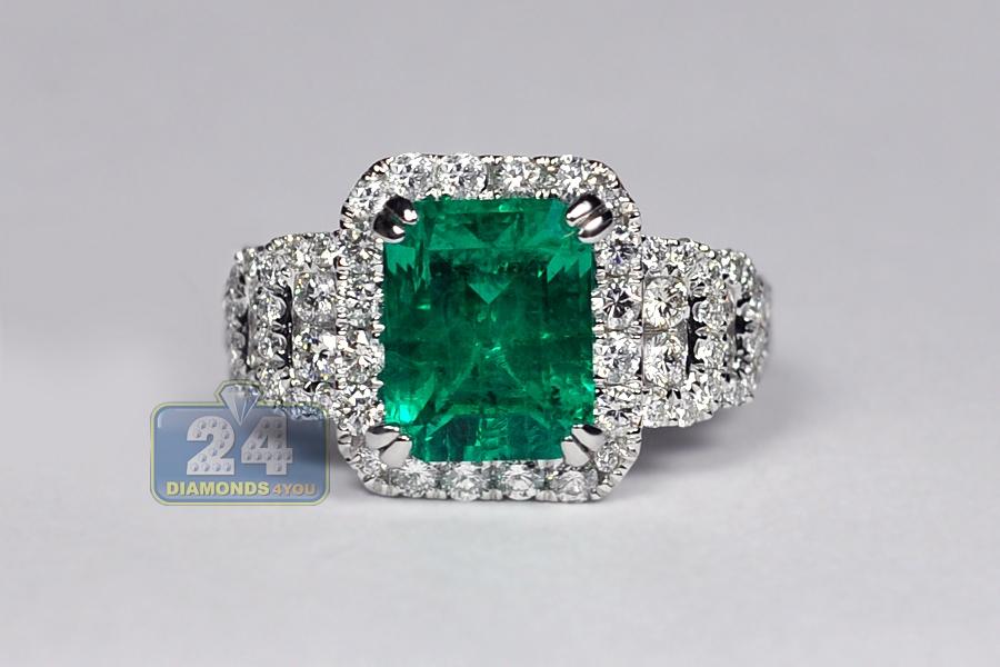 Womens Emerald Diamond Gemstone Ring 18K White Gold 444 Ct