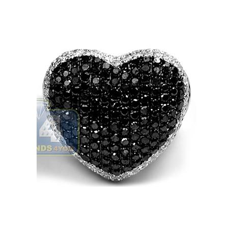 Womens Black White Diamond Heart Shape Ring 14K Gold 489 Ct