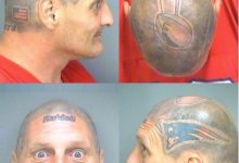 Photo of Victor Thompson, Man Whose Head Is Covered In Patriots Tattoos, Wanted On Narcotics Charge
