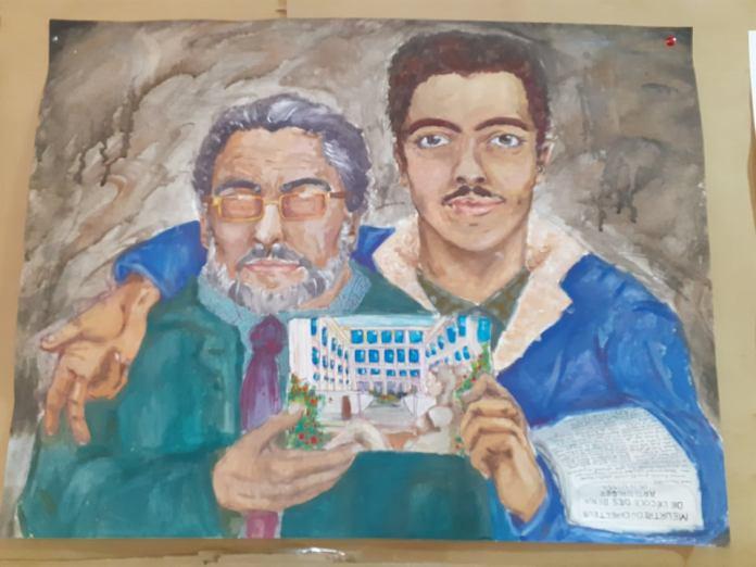 Ahmed et Rabah Asselah dans les œuvres des étudiants des Beaux-Arts d'Alger