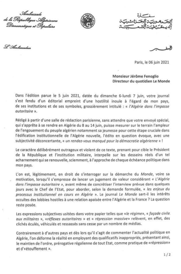 """L'ambassadeur d'Algérie à Paris dénonce un édito du Monde d'une """"hostilité inouïe"""""""