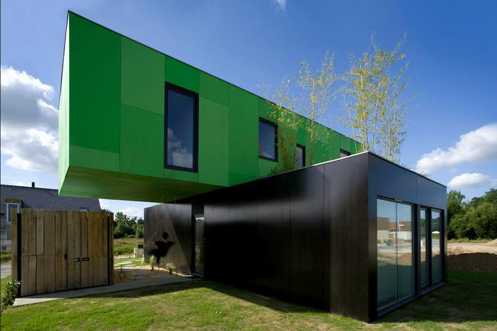 Green and black containers house