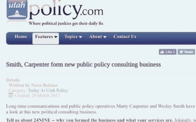 24NINE featured in Utah Policy