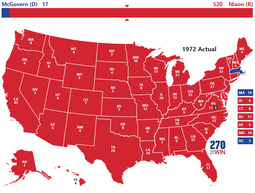 Image result for 1972 electoral college map