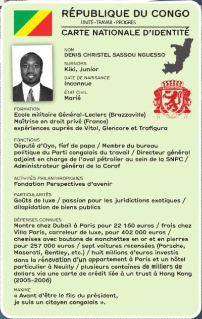 La fiche info du fils fraudeurs du président congolais, Denis-Christel Sassou Nguesso | Infog : DB