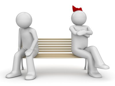 Offended man and woman on a bench (love, valentine day series; 3d isolated characters)