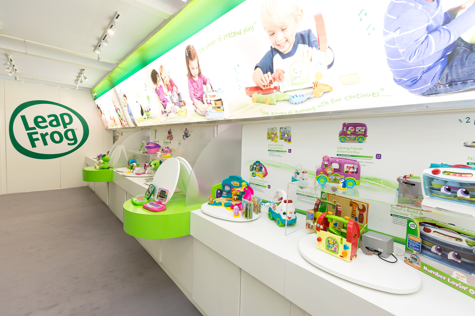 Exhibition design for Leapfrog at UK Toy Fair