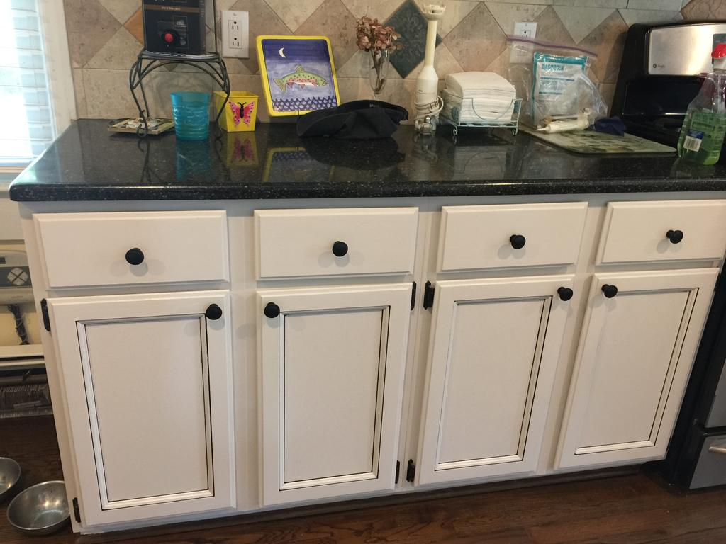 Light Pewter Cabinets With Black Glaze Pin Stripes 2 Cabinet Girls