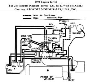 Manifold Intake Diagram for Tercel 1992 E3