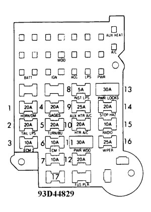 1992 Chevrolet Van Fuse Box: Diagram of Fuse Panel for 1992 Chevy