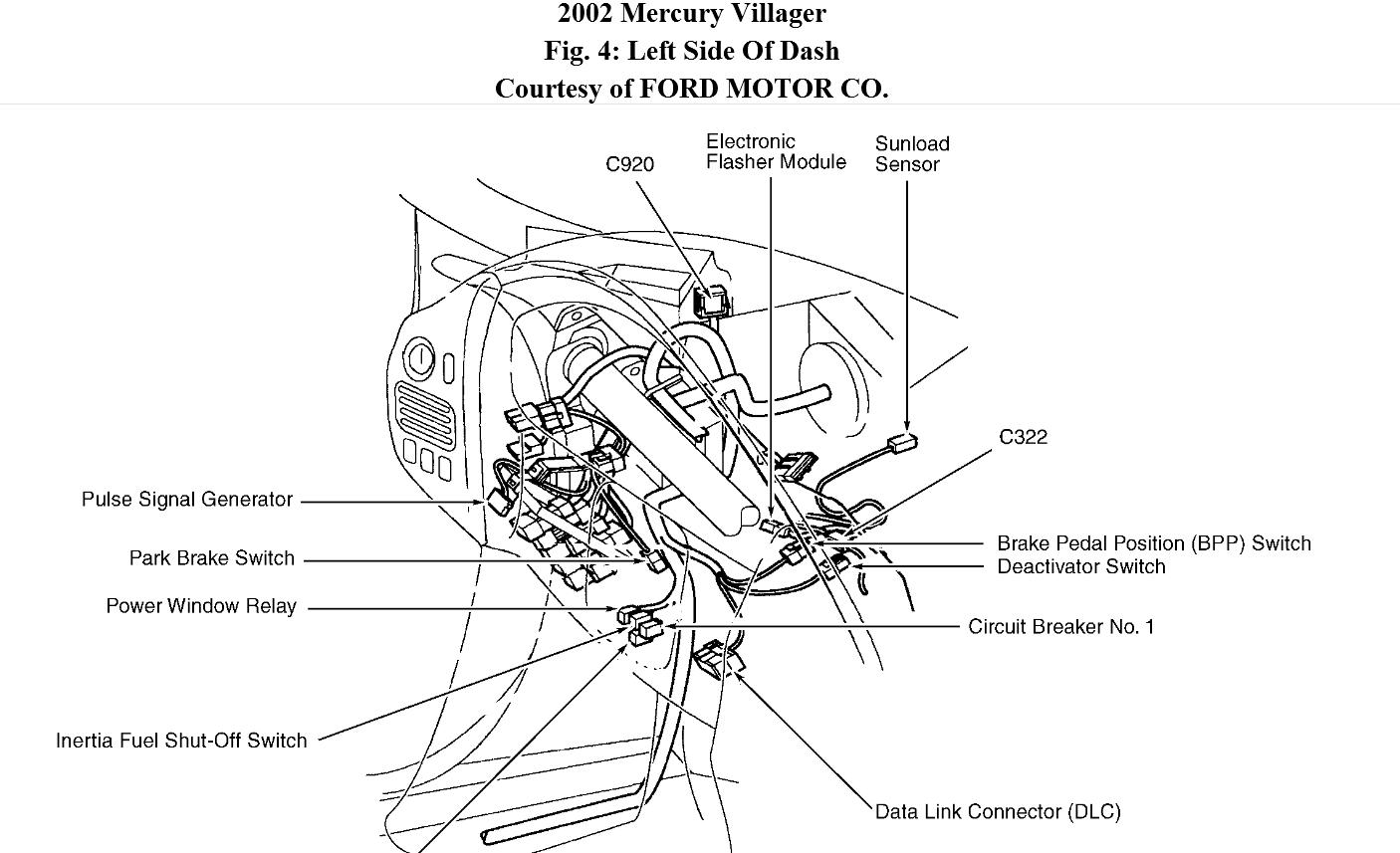 Mercury Villager Turn Signal Switch Removal Diagram