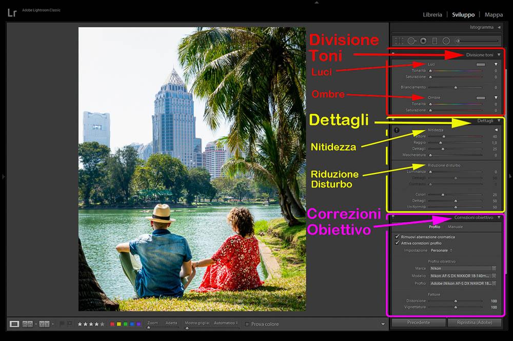Post Produzione Foto con Lightroom Divisione toni, Dettagli, Correzioni obiettivo 2 Cuori in Viaggio