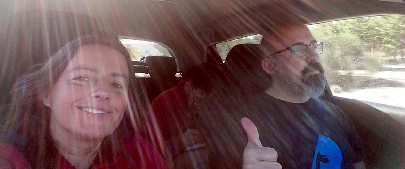 En el coche camino a PyT