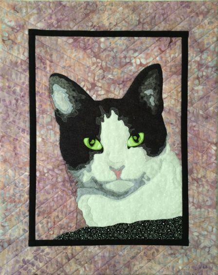 quilted pet portrait, cat portrait