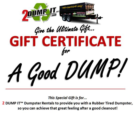 2 DUMP IT Dumpster Rentals St. Louis MO Gift Certificate