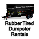 NO Damage to Drive Rubber Tired Dumpster Rentals, Dumpster on Wheels
