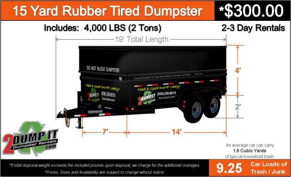 15 Yard Rubber Tired Dumpster - Rent a 10 Yard Dumpster