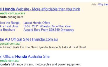 Googling Honda Australia