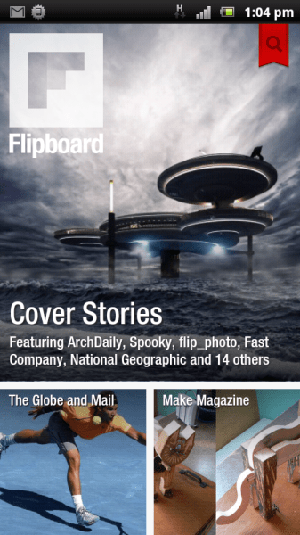 Flipboard home screen with G&M and Make