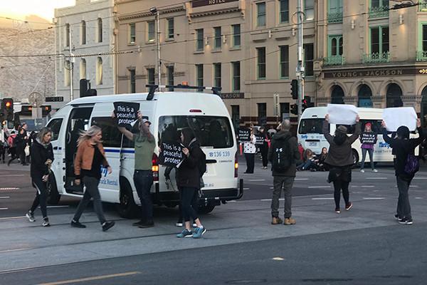 Vegan Protestors Stop Traffic In Melbourne CBD