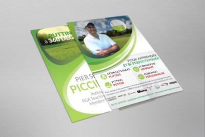 Flyer du golfeur professionnel Pier Sergio Piccinetti www.psp-puttingcoach.com