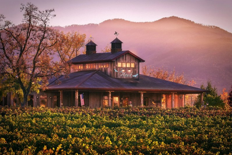 2Hawk Vineyard and Winery Tasting Room and Vineyard with Mountains