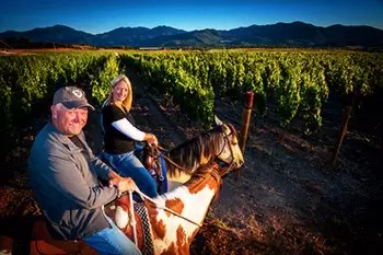 2Hawk Vineyard and Winery Owners Ross and Jen Allen Horseback-Riding in Vineyard