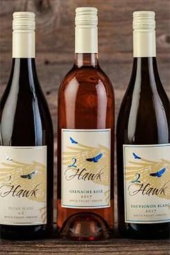 2Hawk Vineyard and Winery Plume Blanc v2, Grenache Rose, and 2017 Sauvignon Blanc 2017 Wine Bottles