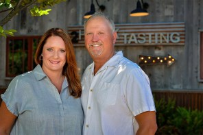 2Hawk Vineyard and Winery Owners Jen and Ross Allen Outside Tasting Room