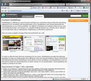 Content Guidelines for Stumbleupon.com