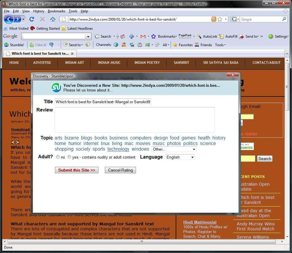 A working example of Stumbleupon.com toolbar
