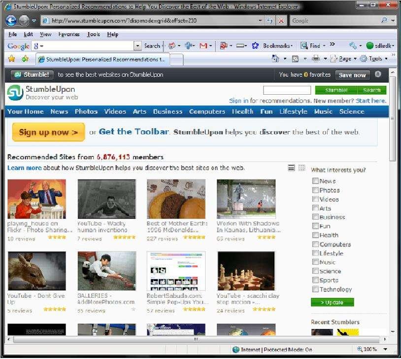 Home Page of Stumbleupon.com