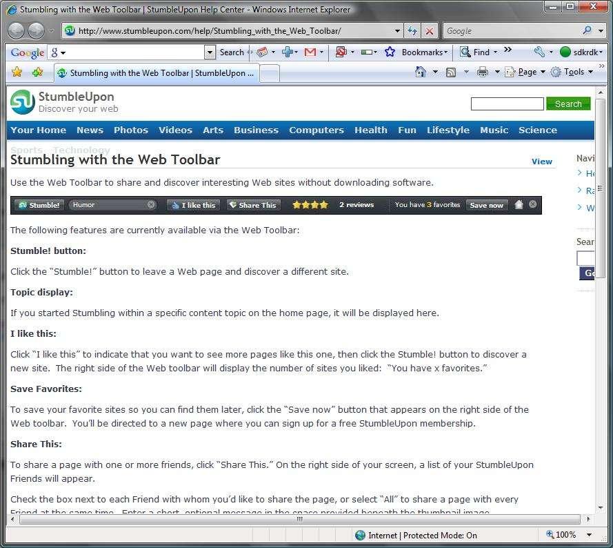 How Stumbleupon.com toolbar works