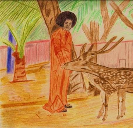 Hand Sketch of Sri Sathya Sai Baba using Pencil Colors