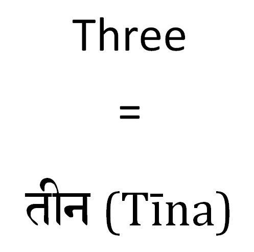How do you say three in Hindi
