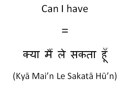 How to say can I have in Hindi