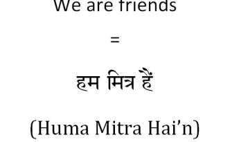 How to say we are friends in Hindi
