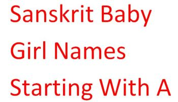 Sanskrit Baby Girl Names Starting With A