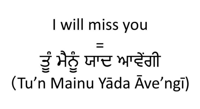 I will miss you in Punjabi (female informal)