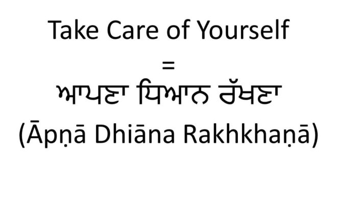 Take care of yourself in Punjabi version