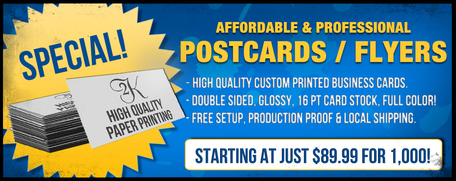 SPECIAL! Custom Printed Postcards/Flyers