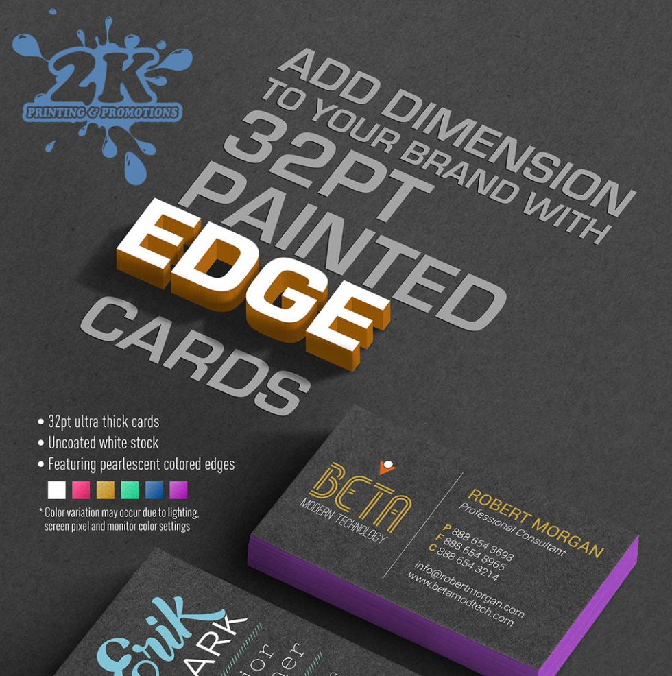 NEW: 32 Point Painted Edge Business Cards from 2K Printing ...