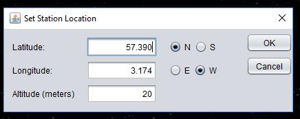 DopperPSK - Set Location Dialog window