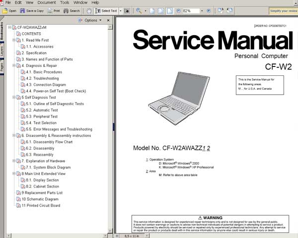 Panasonic TOUGHBOOK CFW2 Notebook Computer CFW2 Service