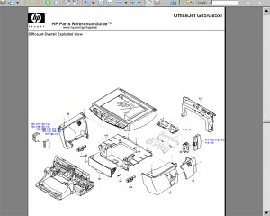 HP OfficeJet G85 Parts Reference Guide with Exploded View